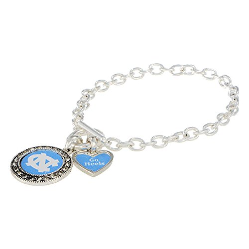 NCAA University of North Carolina UNC Logo and ''Go Heels'' Charm Toggle Bracelet by Tamis Place