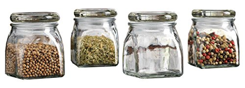 Palais Glassware 4.3 Ounce Clear Glass Spice Jar with Glass Lid - Contemporary Square Finish