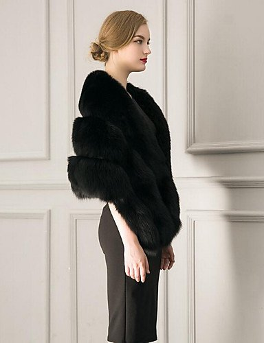 chic Fur Length White Winter ONESIZE YRF Thick Cloak CoatSolid Faux Sleeve Casual Street Daily Women's Round Neck Black Fur PU gAIB1