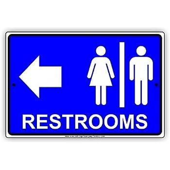 Restrooms for Women & Men Bathroom Left Arrow Restaurant Hotel 8x12 inch Sign