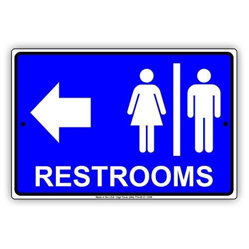 (Restrooms for Women & Men Bathroom Left Arrow Restaurant Hotel 8x12 inch Sign)