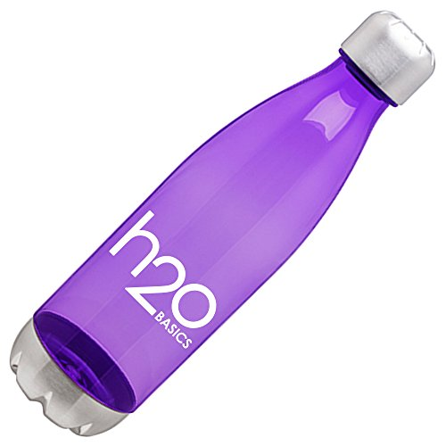 H2O Basics BPA-Free Sport Water Bottles 25 oz, Tritan Non Toxic Plastic, Reusable Flask with Stainless Steel Leak Proof Twist Off Cap & Steel Base, Cola Bottle Shape (Purple, 25 Ounces)