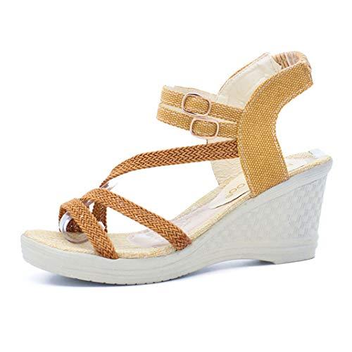 OTOSU Women's Open Toe Wedge Sandals Mid Heel Elastic Buckle Strap Summer Casual Braided Platform Sandal Brown