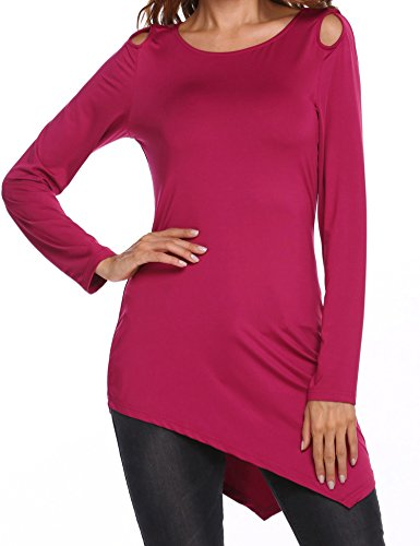 Unibelle Women's Casual O-Neck Long Sleeve Keyhole Tunics Solid Asymmetrical T-Shirt Blouse Top Plus Size X-Large