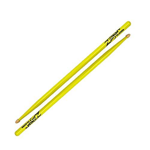 zildjian-5a-acorn-neon-yellow-drumsticks