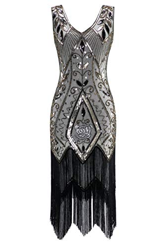 (Metme Flapper Dresses for Women, Women's 1920s Flapper Fringe Beaded Great Gatsby Party Dress Champagne)