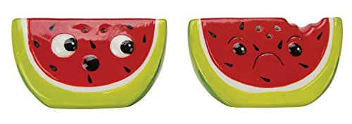 - Boston Warehouse Salt & Pepper Shakers, Watermelon Collection, Hand Painted Ceramic