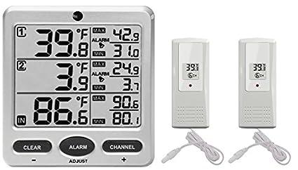 Ambient Weather WS-09 8-canales inalámbrico frigorífico/congelador ...