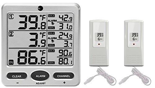 Ambient Weather WS-09 8-Channel Wireless Refrigerator/Freezer Thermometer Alarm Set
