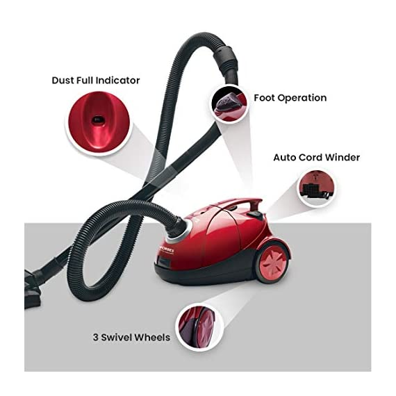 Eureka Forbes Quick Clean DX 1200-Watt Vacuum Cleaner for Home with Free Reusable dust Bag (Red) 4
