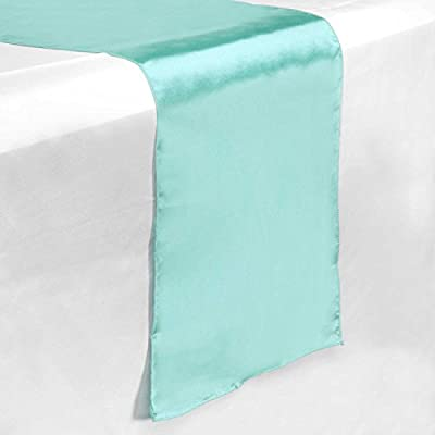 """Lann's Linens - 5 Satin 12"""" x 108"""" Dining Room Table Runners for Wedding, Reception or Party - Turquoise - PREMIUM-GRADE SATIN: Make any formal decor pop with these silky-smooth deluxe satin wedding table runners. With the perfect blend of modern glamour and timeless sophistication, it is clear to see why both professional as well as home decorators choose this classic, radiant design to adorn their tables. STAIN-RESISTANT & MACHINE WASHABLE: Superior quality satin is highly resistant to stains, and low-maintenance with simple machine-wash care. Avoid costly rental and dry cleaning fees with this highly affordable, lasting investment that can be utilized at many different functions. FINELY FINISHED EDGES: Meticulously stitched with matching thread, these one-piece designs feature a securely sewn, narrow (1/16"""" wide) merrowed border resistant to fraying and overstretching. - table-runners, kitchen-dining-room-table-linens, kitchen-dining-room - 41weV8wCFhL. SS400  -"""