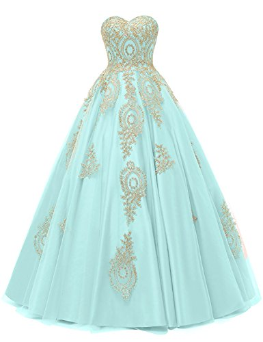 LMBRIDAL Women's Appliqued Quinceanera Dress Sweetheart Birthday Ball Gown Mint E 2