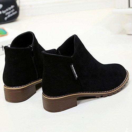 Janes Leather Heel Boots Women's Shoes Mary Block CHNHIRA Retro Black Short YPxqf