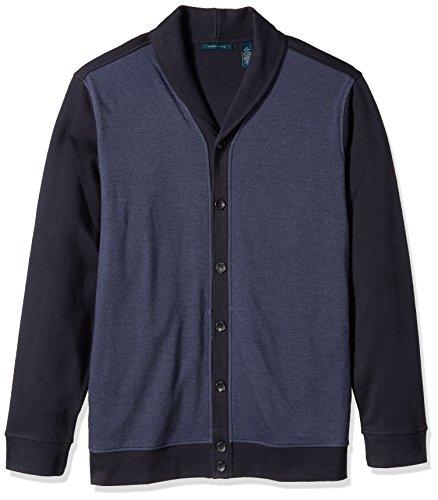 Weave Cotton Birdseye (Perry Ellis Men's Big and Tall Solid Texture Shawl Cardigan, Dark Sapphire, 2XL)