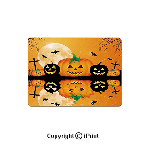Gaming Mouse Pad Custom,Spooky Carved Halloween Pumpkin Full Moon with Bats and Grave Lake Mouse Mat,Non-Slip Rubber Base Mousepad,7.9x9.5 inch,Orange -