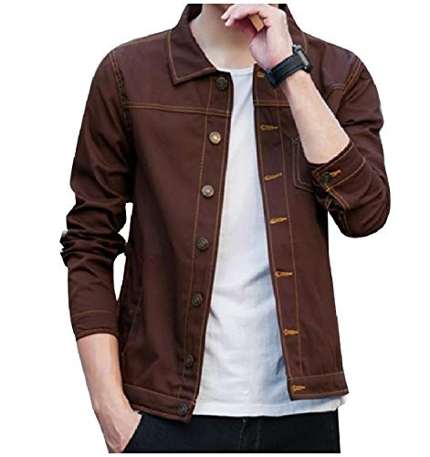 Slim Comfort Howme Jacket Spring Denim Trucker Men Classic Jean Coffee Fall X6xFn5xwO