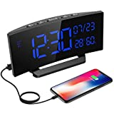 Alarm Clock, Mpow Digital Clock 6.5-inch Curved-Screen Dimmer Clock with Calendar, Date, Day of Week, Temperature and Humidity, Multifunctional Clock with USB Charging Port for iPhone/Android/Tablet
