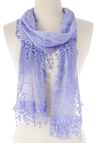 Shawl Silk Scarf New (Cindy and Wendy Lightweight Soft Leaf Lace Fringes Scarf shawl for Women (TYH-LAVENDER))