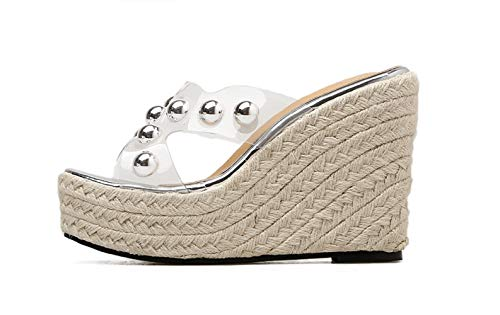 Casual Tacón Fengjingyuan Y Con Sandalias Muffin De Alto White Zapatillas Cuñas Para Gruesa Suela Mujer nzqOngTw