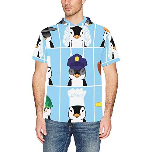 InterestPrint Men's Short Sleeve Hoodies Shirts Cute Penguins Casual Hooded T-Shirt Tops L