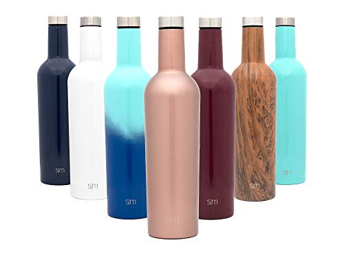 Simple Modern Spirit 25oz Wine Bottle - Double Wall, Vacuum Insulated Wine Bottle with Leak Proof Lid - 18/8 Stainless Steel Rose Gold ()