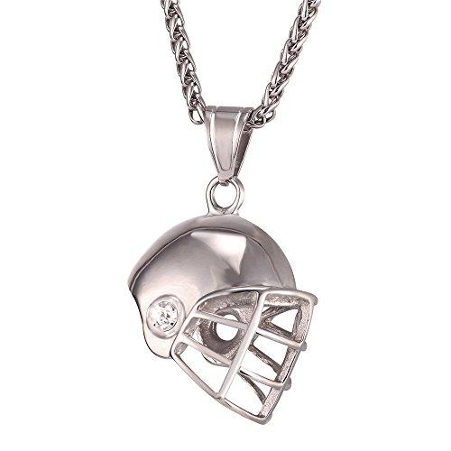 Mens Stainless Steel Football Helmet Pendant Necklace Sport Fan Gift Stainless Steel Rope Chain - Charm Football Helmet