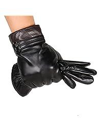 JL Men's Winter Warm Touchscreen Lambskin Leather Gloves (S)
