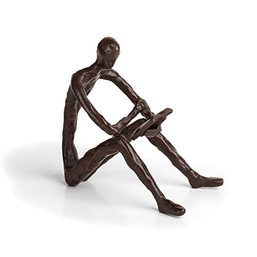 Danya B. ZD14010 Bronze Sculpture of Person Reading a Book - Modern and Elegant Design - Metal Art - Contemporary Home and Office Décor
