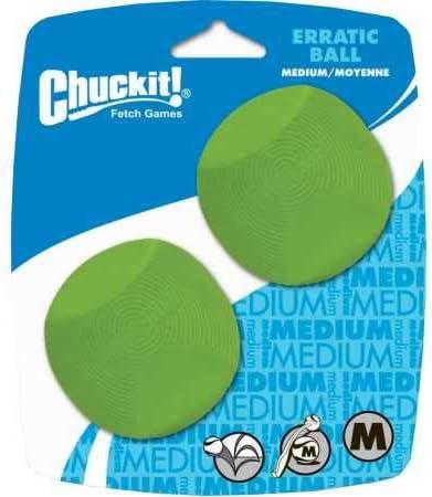 Chuckit! 20120 Erratic Ball 2 Pelotas para Perros Compatible con el Lanzador, M