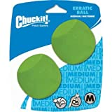 "Chuckit! Erratic Ball, Medium, 2.5"", 2 Pack, Green"