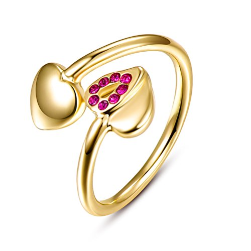 Women's Heart Simple Cute Promise Eternity Ring 18K Gold Plated Party Bridal Jewelry by Mrsrui