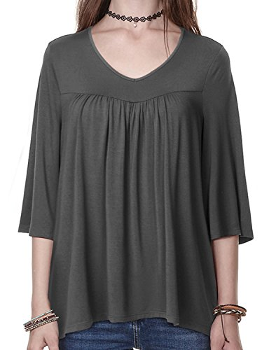 Regna X Boho for Woman's Loose Loose Comfy Dark Grey 2XL Plus Size Big v Neck Babydoll Blouses t Shirts Tops by Regna X