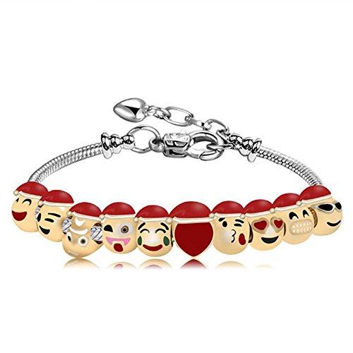 [ZhiDa Expression Funny Smiley Emoji Charm Pull Decorative Bracelet 10 Beads Emoji Chains for Girls Kids] (Easy Halloween Costume To Wear To Work)