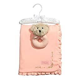 C.R. Gibson Heaven Sent Receiving Blanket and Rattle Gift Set, By Baby Dumpling - Pink