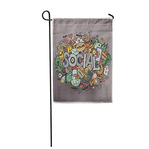 Semtomn Garden Flag 28x40 Inches Print On Two Side Polyester Community Social Hand Lettering and Doodles Media Forum Online People Smart Home Yard Farm Fade Resistant Outdoor House Decor Flag -
