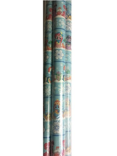 4 Rolls: My Little Pony Snow Flake Christmas Gift Greetings Wrapping Paper Holiday Festive Design Wrap