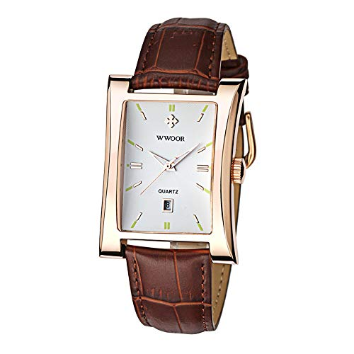 (Mens Watches White Dial Gold Rectangle Watches for Men Brown Luxury Brand Leather Calendar Man Square Quartz Watches (Brown))