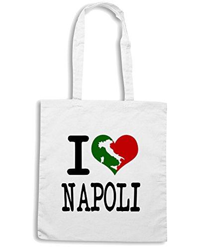 T-Shirtshock - Bolsa para la compra TLOVE0061 i love napoli italian light Blanco