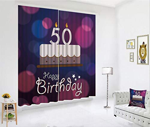SCOCICI Blackout Curtain Set for Living Room,Spots Graphic Cake Number Candlesticks Cute,Decor Creative 3D Printed Blackout Window Drape for Bedroom Kids Room Window Treatments(2 Panels)