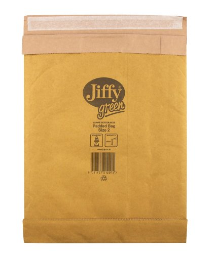 Jiffy Padded Bags, Size 2, 195 x 280mm, 100% Paper, Heavy Duty Protection (Pack of 100)