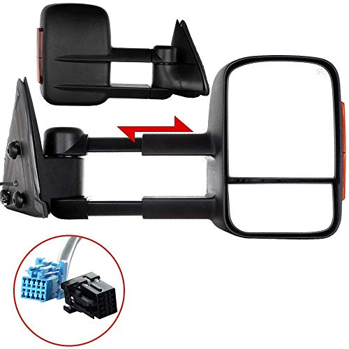 Adjustable Tow Mirrors - ECCPP Side Mirror Replacement fit for 2003-2006 Chevy Silverado 1500 2500 HD 3500 Suburban 1500 2500 Tahoe GMC Sierra Yukon Power Heated Signal Black Manual Telescoping Side View Pair Mirrors