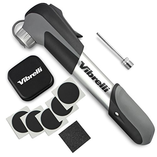 powerful Vibrelli Mini Bike Pump  Glueless Puncture Repair Kit - Fits Presta  Schrader - 120 PSI - No Valve Changing Needed.