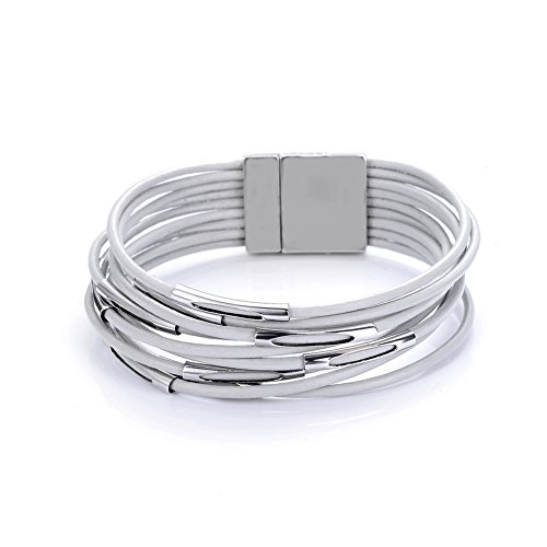 CCB Tube Spacer Multi-layer Leather Cord Magnetic Clasp Wrap Bracelets For Women Men (Grey)