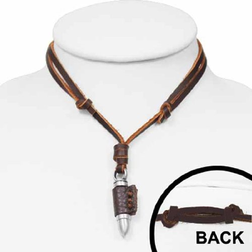 Urban Male Brown Leather Necklace Adjustable Length With Bullet Pendant
