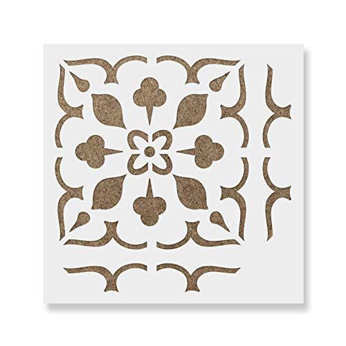Lydia Tile Stencil - Reusable Floor & Backsplash Mediterranean Tile Stencils for Home Decor, Furniture, and Walls 12