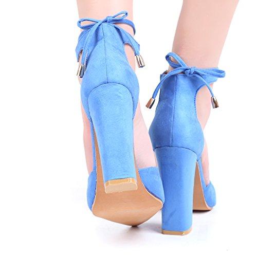 Hengsong Femme Eté Sandales à Talons Peu Profondes Bouche Suède Sandales Nœud Cheville Épais Talons Hauts Chaussures Azur 4dZixfSHW