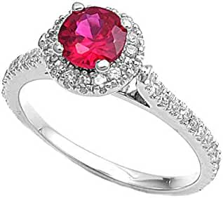Round Center Simulated Ruby Cubic Zirconia Ring Sterling Silver 925