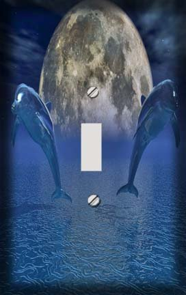 Celestial Dolphins I Switchplate - Switch Plate Cover (Dolphin Switchplate)