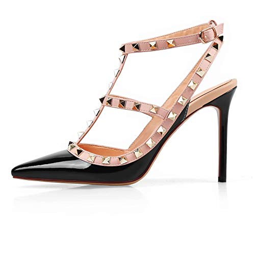 - Chris-T Women Pointed Toe Studded Strappy Slingback High Heel Leather Pumps Stilettos Heeled Sandals Black Size 6US