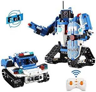RC TECNIC Tanquebot 2 En 1 - Tanque y Robot Policía para Montar con Mando Control Remoto | Robot Teledirigido Juguetes Construcción para Niños
